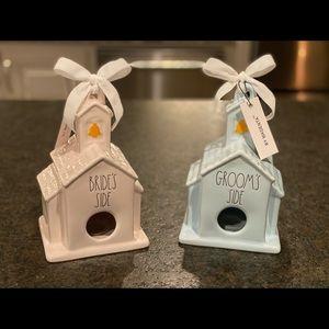 NWT Rae Dunn Bride and Groom Birdhouses